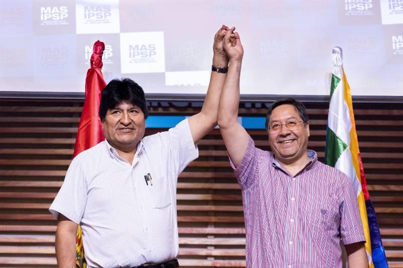 Evo Morales y Luis Arce, el nuevo presidente de Bolivia. Foto: DPA.