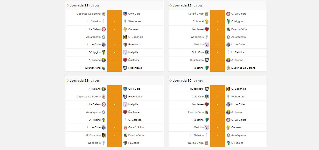 Fixture Fútbol chileno